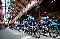 Picture by Alex Whitehead/SWpix.com - 03/09/2018 - Cycling - OVO Energy Tour of Britain - Stage 2: Cranbrook to Barnstaple - Movistar travel through South Molton Country Pannier Market.