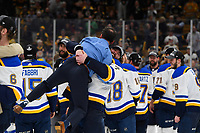 June 12, 2019: St. Louis Blues left wing Pat Maroon (7) celebrates at game 7 of the NHL Stanley Cup Finals between the St Louis Blues and the Boston Bruins held at TD Garden, in Boston, Mass.  The Saint Louis Blues defeat the Boston Bruins 4-1 in game 7 to win the 2019 Stanley Cup Championship.  Eric Canha/CSM.