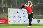 Maryama Khan of Pakistan tees off at tee one during the 9th Faldo Series Asia Grand Final 2014 golf tournament on March 18, 2015 at Mission Hills Golf Club in Shenzhen, China. Photo by Xaume Olleros / Power Sport Images