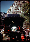 D&amp;RGW #361 C-21 with Special at Curecanti Needle.  Rocky Mt RR club drumhead.<br /> D&amp;RGW  Curecanti, CO  Taken by Maxwell, John W. - 9/7/1947