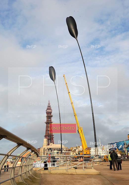 10/11/2011 Cycle Columns  on Blackpool Promenade......© Phill Heywood.