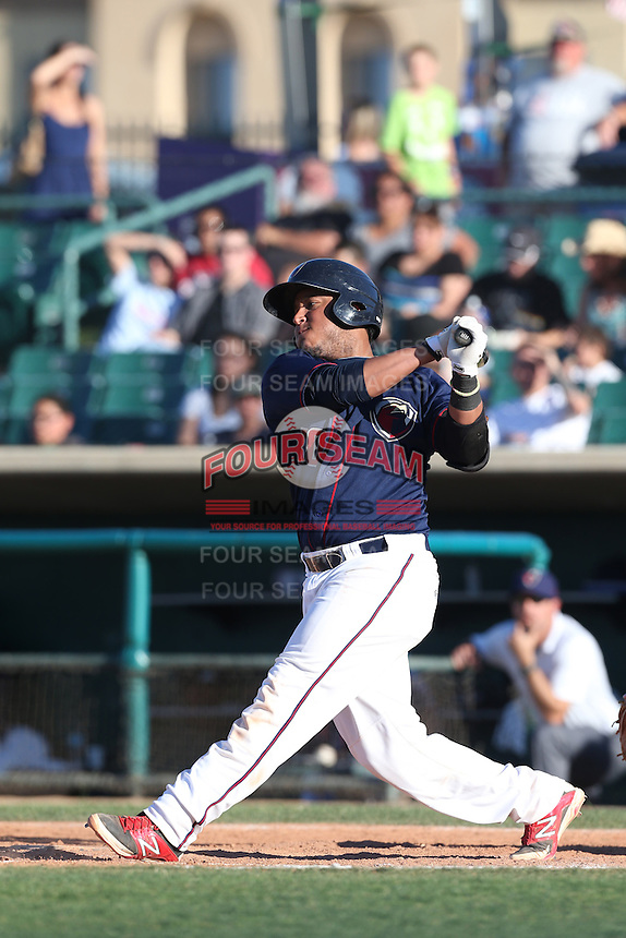 Roberto Pena #10 of the Lancaster JetHawks bats against the Inland Empire 66ers at The Hanger on May 26, 2014 in Lancaster, California. Lancaster defeated Inland Empire, 6-5. (Larry Goren/Four Seam Images)