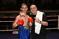 Frank Arnold (blue shorts) defeats Luke Fash during a Boxing Show at York Hall on 10th February 2018