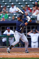 San Antonio Missions first baseman Luis Domoromo (7) at bat during a game against the NW Arkansas Naturals on May 31, 2015 at Arvest Ballpark in Springdale, Arkansas.  NW Arkansas defeated San Antonio 3-1.  (Mike Janes/Four Seam Images)