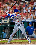 7 October 2017: Chicago Cubs outfielder Albert Almora Jr. at bat during the second game of the NLDS against the Washington Nationals at Nationals Park in Washington, DC. The Nationals defeated the Cubs 6-3 and even their best of five Postseason series at one game apiece. Mandatory Credit: Ed Wolfstein Photo *** RAW (NEF) Image File Available ***