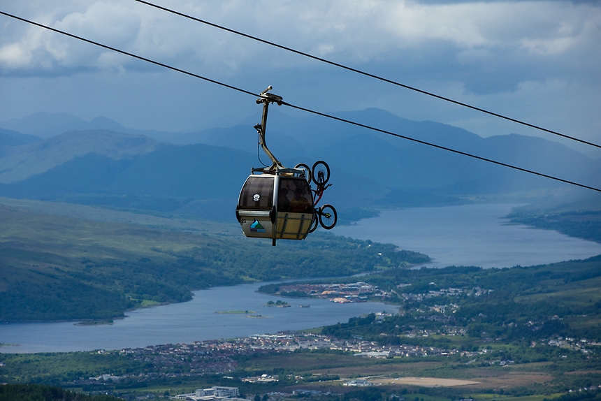 A gondola is seen transporting bikes up to the start of practice<br /> <br /> Photographer Craig Mercer/CameraSport<br /> <br /> UCI Mountain Bike World Cup - Friday 2nd June 2017 - Fort William - Scotland<br /> <br /> World Copyright &copy; 2017 CameraSport. All rights reserved. 43 Linden Ave. Countesthorpe. Leicester. England. LE8 5PG - Tel: +44 (0) 116 277 4147 - admin@camerasport.com - www.camerasport.com