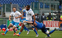 Rugby, Torneo Sei Nazioni: Italia vs Francia. Roma, stadio Olimpico, 15 marzo 2015.<br /> Italy's Samuela Vunisa is challenged by France's Loan Goujon, right, during the Six Nations championship rugby match between Italy and France at Rome's Olympic stadium, 15 March 2015.<br /> UPDATE IMAGES PRESS/Riccardo De Luca