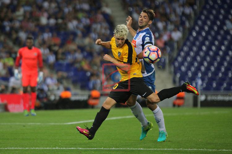 League Santander 2016/2017. Game: 2.<br /> RCD Espanyol vs Malaga CF: 2-2.<br /> Sergio Gontan vs Victor Sanchez.