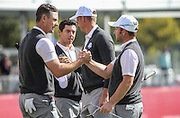 Andy Sullivan (Team Europe), Justin Rose (Team Europe), Henrik Stenson (Team Europe), and Rory McIlroy (Team Europe) end another successful practice 9 holes during Thursday's Practice Round ahead of The 2016 Ryder Cup, at Hazeltine National Golf Club, Minnesota, USA.  29/09/2016. Picture: David Lloyd | Golffile.