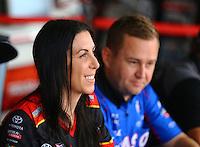 Apr 25, 2015; Baytown, TX, USA; NHRA funny car driver Alexis DeJoria during qualifying for the Spring Nationals at Royal Purple Raceway. Mandatory Credit: Mark J. Rebilas-