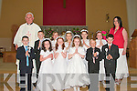 The boys and girls of Murhur National School, Moyvane who received their First Holy Communion in the Church of the Assumption, Moyvane on Saturday. Pictured are Aimee Lindsell, Patrice Galvin, Lisa Stackpoole, Shane Quinn, Thomas Moore, David O'Carroll, Fr John Lucid, Miche?al Collins, Laura Stack, Moira O'Flaherty, Margaret Mulvihill, Lisa Mulvihill and Mairead Curren.