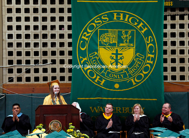 Waterbury, CT- 31 May 2015-053115CM07- Holy Cross High School graduate, Jenna Berkowitz gives the class commencement address at Holy Cross High School in Waterbury on Sunday.  Christopher Massa Republican-American