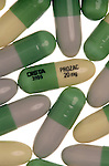 close-up of Prozac capsules