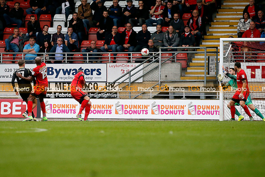 Crewe's George Cooper scores & celebrates 1st goal during Leyton Orient vs Crewe Alexandra, Sky Bet EFL League 2 Football at the Matchroom Stadium on 29th October 2016