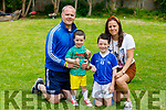Declan Quille and his son Adam hosting Skilz Skool - tips for young footballers through Facebook videos at their home in Tralee on Tuesday. L to r: Declan, Mattie, Adam and Erika Quille.