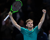 David Goffin of Belgium (7) celebrates his victory against Rafael Nadal of Spain (1) during their Pete Sampras group match - Goffin def Nadal 7-6, 6-7, 6-4<br /> <br /> Photographer Craig Mercer/CameraSport<br /> <br /> International Tennis - Nitto ATP World Tour Finals - O2 Arena - London - Day 2  - Monday 13th November 2017<br /> <br /> World Copyright &copy; 2017 CameraSport. All rights reserved. 43 Linden Ave. Countesthorpe. Leicester. England. LE8 5PG - Tel: +44 (0) 116 277 4147 - admin@camerasport.com - www.camerasport.com