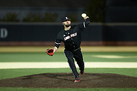Louisville Cardinals relief pitcher Michael Kirian (33) in action against the Wake Forest Demon Deacons at David F. Couch Ballpark on March 6, 2020 in  Winston-Salem, North Carolina. The Cardinals defeated the Demon Deacons 4-1. (Brian Westerholt/Four Seam Images)