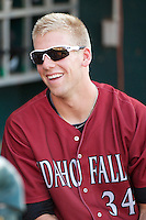 Hunter Dozier (34) of the Idaho Falls Chukars prior to the game against the Ogden Raptors at Lindquist Field on September 5, 2013 in Ogden Utah.  (Stephen Smith/Four Seam Images)