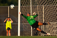 Sky Blue FC goalkeeper Brittany Cameron (1) makes a save. The Western New York Flash defeated Sky Blue FC 3-0 during a National Women's Soccer League (NWSL) match at Yurcak Field in Piscataway, NJ, on June 8, 2013.