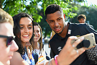 Lys Mousset of AFC Bournemouth poses for a selfie with a fan during AFC Bournemouth vs Real Betis, Friendly Match Football at the Vitality Stadium on 3rd August 2018