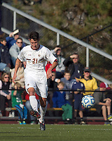 Boston College midfielder/defender Colin Murphy (21) passes the ball.  Rutgers University defeated Boston College in penalty kicks after two overtime periods in NCAA Division I tournament action, at Newton Campus Field, November 20, 2011.