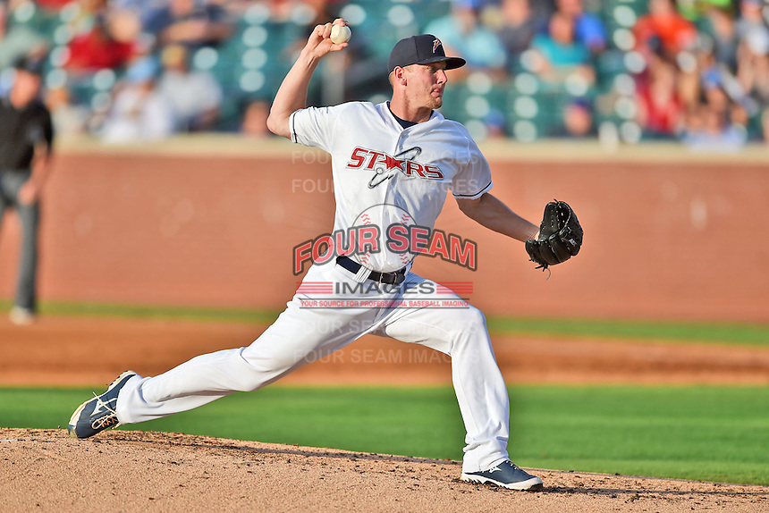 Huntsville Stars pitchers Drew Gagnon #29 delivers a pitch during the Southern League All Star game at AT&T Field on June 17, 2014 in Chattanooga, Tennessee. The Southern Division defeated the Northern Division 6-4. (Tony Farlow/Four Seam Images)