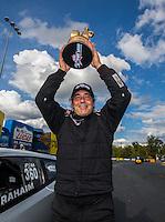 Sep 18, 2016; Concord, NC, USA; NHRA pro mod driver Bob Rahaim celebrates after winning the Carolina Nationals at zMax Dragway. Mandatory Credit: Mark J. Rebilas-USA TODAY Sports