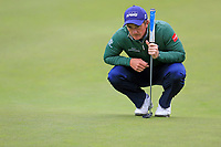 Paul Dunne (IRL) on the 9th green during Saturday's Round 3 of the 2017 Omega European Masters held at Golf Club Crans-Sur-Sierre, Crans Montana, Switzerland. 9th September 2017.<br /> Picture: Eoin Clarke | Golffile<br /> <br /> <br /> All photos usage must carry mandatory copyright credit (&copy; Golffile | Eoin Clarke)