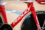 "Ridley Bikes ""Flying Moustache"" the name given to European Time Trial Champion Victor Campenaerts (BEL) bike to set the new UCI Hour Record holder after covering 55,089 km, beating Bradley Wiggins record by 563 metres. Aguascalientes, Mexico. 16th April 2019.<br /> Picture: Ridley Bikes 