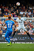 17th March 2019, Mestalla Stadium, Valencia, Spain; La Liga football, Valencia versus Getafe; Garbiel Paulista of Valencia CF heads a high ball forward through midfield