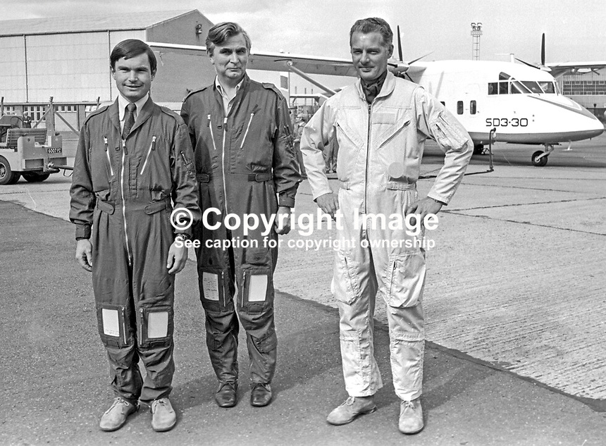 The crew of the Short SD3-30 on its maiden flight on 22nd August 1974 from Belfast Harbour Airport, N Ireland, were from left John Richardson, co-pilot, Cliff McKee, chief development officer, and Don Wright, chief test pilot. Described by Short Brothers plc as a luxury commuter aircraft it will carry 30 passengers plus crew. 197408220453d<br />