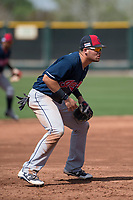Cleveland Indians third baseman Henry Pujols (28) during a Minor League Spring Training game against the San Francisco Giants at the San Francisco Giants Training Complex on March 14, 2018 in Scottsdale, Arizona. (Zachary Lucy/Four Seam Images)
