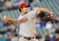 26 April 2010: Arizona Diamondbacks starting pitcher Dan Haren (15) during a regular season Major League Baseball game between the Colorado Rockies and the Arizona Diamondbacks at Coors Field in Denver, Colorado. *****For Editorial Use Only*****