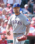 Yu Darvish (Rangers),<br /> APRIL 13, 2017 - MLB :<br /> Texas Rangers starting pitcher Yu Darvish celebrates as he walks back to the dugout after the bottom of the sixth inning during the Major League Baseball game against the Los Angeles Angels of Anaheim at Angel Stadium of Anaheim in Anaheim, California, United States. (Photo by AFLO)