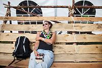 IST Johanna Nilsson resting at the swedish café. Photo: Magnus Fröderberg/Scouterna