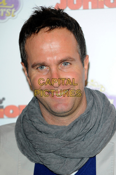 Michael Vaughan.The launch of the Disney TV Series 'Sofia The First' at the Mayfair Hotel, London, England..22nd February 2013.headshot portrait grey gray scarf.CAP/CJ.©Chris Joseph/Capital Pictures.