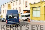 The two mini-busses that arrived on Saturday to move some of the residents to Cork.