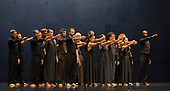 """UK Premiere of Berlin-based dance company Sasha Waltz & Guests of """"Continu"""" at the Sadler's Wells Theatre, London. Developed and choregraphed with 24 dancers, at the core of Continu is Arcana, a dramatic symphonic work composed in 1927 by Edgar Varèse, a composer who was renowned for combining artistic and scientific content. Continu features the modern costume design by Bernd Skodzig, scenography by Thomas Schenk and Pia Maier Schriever, lighting by Martin Hauk, additional music by Iannis Xenakis and Claude Vivier. The performance was directed and created by Sasha Waltz. Photo credit: Bettina Strenske"""