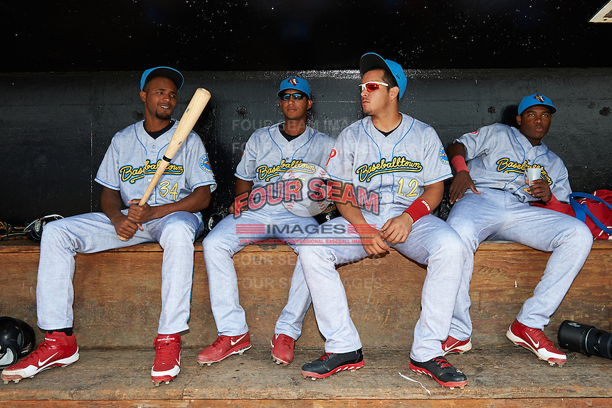 Reading Fightin Phils Juan Sosa #34, Edgar Duran #5, Sebastian Valle #12 and Maikel Franco #27 on the bench before a game against the Trenton Thunder on July 8, 2013 at Arm & Hammer Park in Trenton, New Jersey.  Trenton defeated Reading 10-6.  (Mike Janes/Four Seam Images)