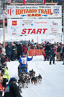 Musher # 22 Judy Currier at the Restart of the 2009 Iditarod in Willow Alaska
