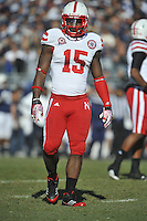 12 November 2011:  Nebraska CB Alfonzo Dennard (15)..The Nebraska Cornhuskers defeated the Penn State Nittany Lions 17-14 at Beaver Stadium in State College, PA..