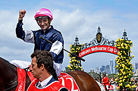 Jockey Corey Brown wins the Melbourne Cup on Rekindling (GB)<br />