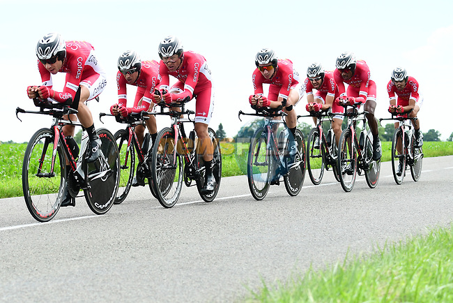 Cofidis in full flight during Stage 3 of the 2018 Criterium du Dauphine 2018 a Team Time Trial running 35km from Pont de Vaux to Louhans Chateaurenaud, France. 6th June 2018.<br /> Picture: ASO/Alex Broadway | Cyclefile<br /> <br /> <br /> All photos usage must carry mandatory copyright credit (© Cyclefile | ASO/Alex Broadway)