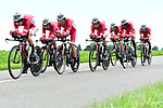 Cofidis in full flight during Stage 3 of the 2018 Criterium du Dauphine 2018 a Team Time Trial running 35km from Pont de Vaux to Louhans Chateaurenaud, France. 6th June 2018.<br /> Picture: ASO/Alex Broadway | Cyclefile<br /> <br /> <br /> All photos usage must carry mandatory copyright credit (&copy; Cyclefile | ASO/Alex Broadway)