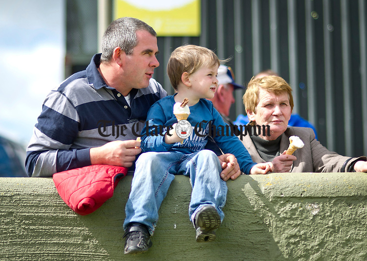Noel, Joe and Maura Clune from Maghera enjoying the fine weather during the Clare County Show at the Ennis Showgrounds. Photograph by Declan Monaghan