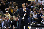 24 February 2016: Notre Dame head coach Mike Brey. The Wake Forest University Demon Deacons hosted the University of Notre Dame Fighting Irish at Lawrence Joel Veterans Memorial Coliseum in Winston-Salem, North Carolina in a 2015-16 NCAA Division I Men's Basketball game. Notre Dame won the game 69-58.