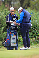 Harry Hall (GB&I) and Conor Gough (GB&I) on the 6th tee during the Foursomes at the Walker Cup, Royal Liverpool Golf CLub, Hoylake, Cheshire, England. 07/09/2019.<br /> Picture Thos Caffrey / Golffile.ie<br /> <br /> All photo usage must carry mandatory copyright credit (© Golffile | Thos Caffrey)