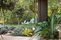View of garden from open air living room connected to patio through sliding glass doors; Coyote House, SITES® residential home with sustainable garden; Santa Barbara California, Susan Van Atta landscape architect, Ken Radtkey architect,
