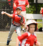 WATERBURY, CT-0712217JS04--Wolcott's Nick Goddard (10) throws out BC Cyclone's JD Fucci (11) after fielding a ground ball during their Roberto Clemente Tournament game Saturday at Municipal Stadium in Waterbury. <br /> Jim Shannon Republican-American