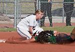 April 20, 2012:   University of Hawai'i Warrior Sarah Robinson is called safe at third as Nevada Wolf Pack third baseman Emily Seidel applies the tag during their NCAA softball game played at Christina M. Hixson Softball Park on Friday in Reno, Nevada.